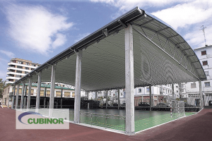 Cubierta autoportante para pista polideportiva en complejo deportivo Michelín Lasarte, Guipúzcoa