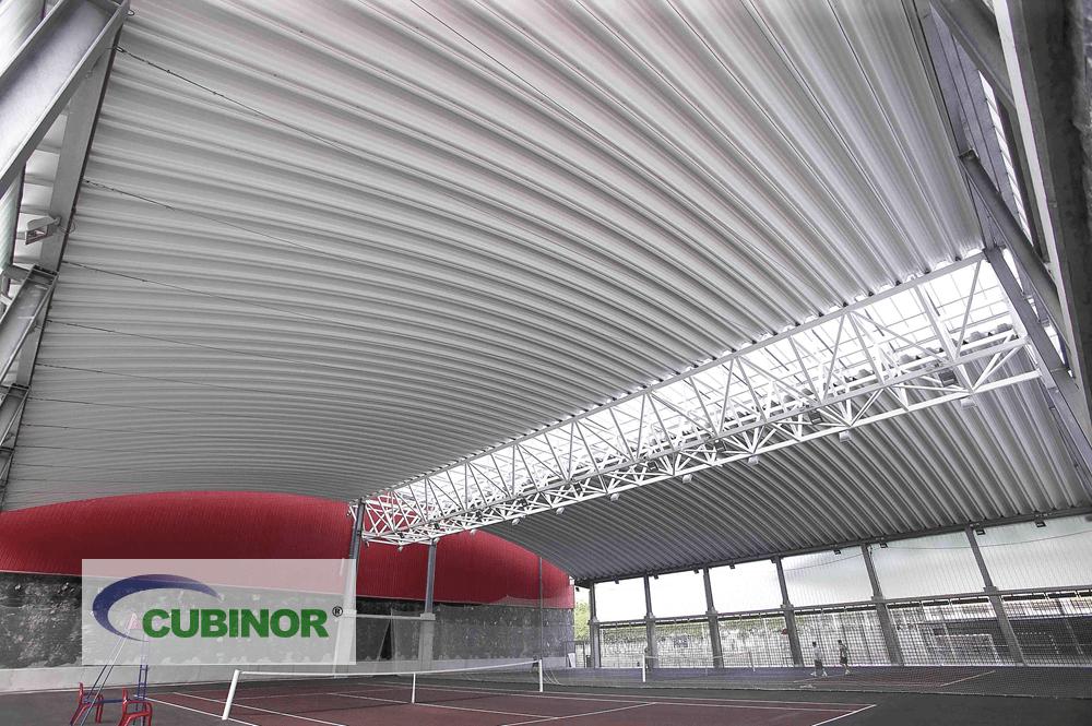 Cubierta para pistas de tenis en complejo deportivo Michelín Lasarte, Guipúzcoa